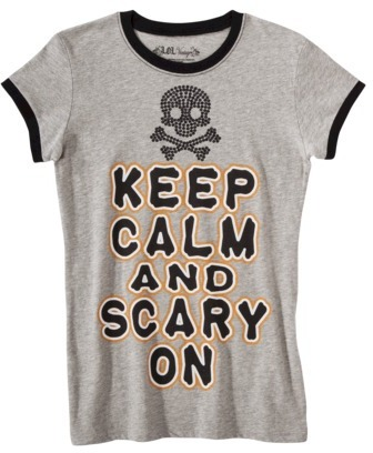 Juniors Keep Calm and Scary On Graphic Tee - Gray