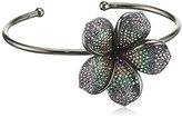 Jade Jagger Midnight Frangipani Open Flower Black Rhodium Plated Sterling Silver with Multi Stone Pave Bangle