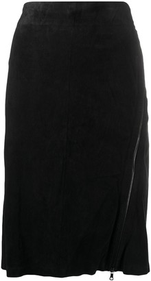 Isaac Sellam Experience High-Rise Suede Pencil Skirt