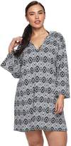 Apt. 9 Plus Size Hooded Medallion Cover-Up