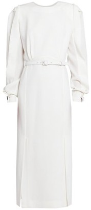 Givenchy Twist-Sleeve Belted Wool Midi Dress