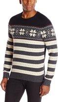 Haggar Men's Allover Fairisle Pattern Crew Neck Sweater