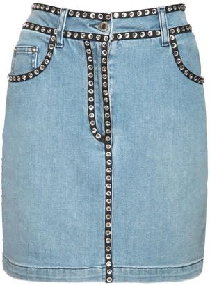 Moschino Denim Mini Skirt W/Crystals