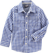 Osh Kosh Boys 4-8 Plaid Poplin Button-Down Shirt