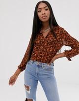 Asos Design DESIGN long sleeve shirt in animal print