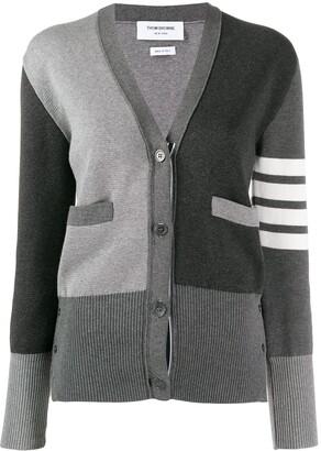Thom Browne 4-Bar stripe panelled cardigan
