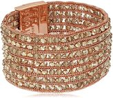 "Kenneth Cole New York Stone Cluster Rose Gold"" Woven Faceted Bead Multi-Row Rose Gold Bracelet"
