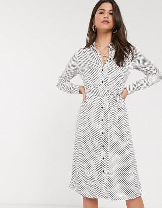 Vila shirt dress in white polka dot