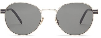 Saint Laurent Monogram-hinge Round Metal Sunglasses - Womens - Silver