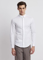 Emporio Armani Textured Jersey Shirt With Concealed Buttons