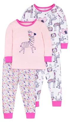 Little Star Organic Baby & Toddler Girl Pure Organic Long Sleeve Cotton Snug Fit Pajamas, 4Pc Set