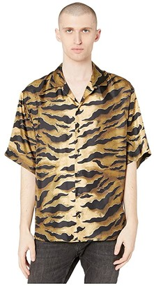 DSQUARED2 Tiger Camo Printed Silk Twill Shirt (Brown) Men's Clothing