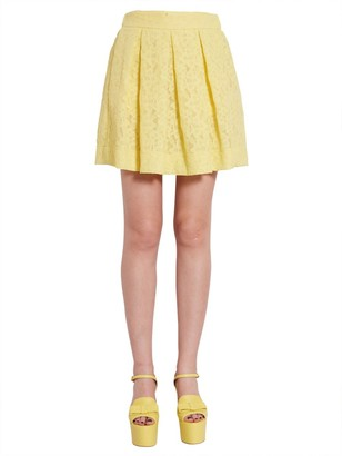 Boutique Moschino Pleated Lace MIni Skirt