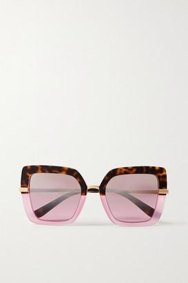 Dolce & Gabbana Square-frame Acetate And Gold-tone Sunglasses - Tortoiseshell