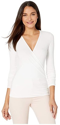 LAmade Eloisa 2x1 Modal Stretch Rib Surplice Top (White) Women's Clothing