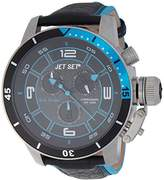 Jet Set J 91101-233 San Remo's Watch Quartz Chronograph Black Dial Black Leather Strap