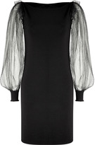 Azzaro Black Tulle Sleeve Messia Dress