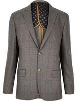 River Island MensGrey check tailored blazer