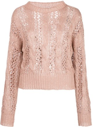 Brunello Cucinelli Open-Knit Sequin-Embellished Jumper