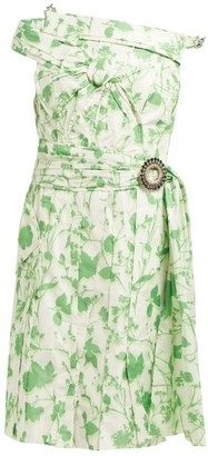 Calvin Klein Crystal-buckle Floral-print Taffeta Dress - Green White
