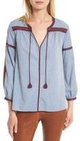 Joie Women's Marlen Embroidered Chambray Top