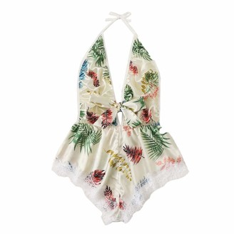 AMhomely Sexy Lingerie Set Bodysuit for Women Ladies Printing Lace Stain Bow Lingerie Bodysuit Backless Pajamas Silk Jumpsuit Plus Size Uingerie Gift Promotion Sale UK Size