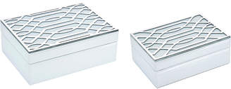 Sagebrook Home Set Of 2 White/Silver Boxes