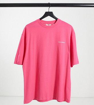 Collusion Unisex oversized t-shirt with logo print in pink