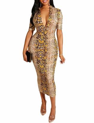 Naliha Women Bodycon Dresses Long Sleeve Snake Summer Club Plus Size Maxi Dress Gold XL