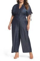 Melissa McCarthy Plus Size Women's Embroidered Gaucho Jumpsuit
