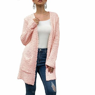 Fansu Women Long Sleeve Cable Knit Cardigan Ladies Autumn Winter Warm Casual Open Front Sweater Lightweight Down Basic Outwear with Pockets (S