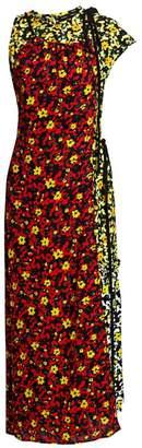 Proenza Schouler Asymmetric Floral Overlay Maxi Dress