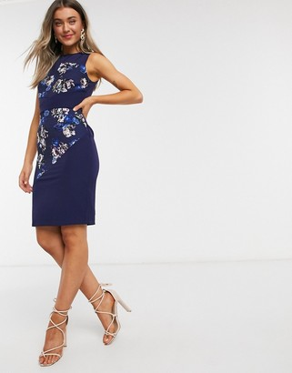 Paper Dolls panelled pencil dress in navy floral