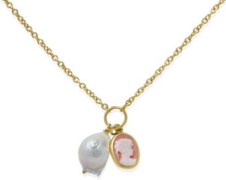 Vintouch Italy Pink Cameo With A Pearl Necklace