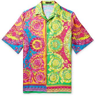 Versace Oversized Camp-Collar Printed Silk-Twill Shirt