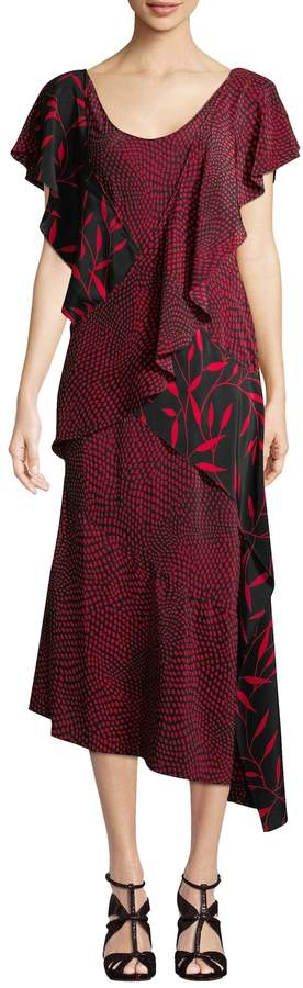 Diane von Furstenberg Women's Printed Draped Ruffle Midi Dress