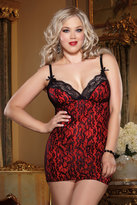 Yours Clothing DREAMGIRL Red And Black Lace Chemise And Thong Set