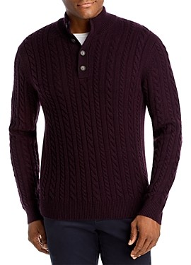 The Men's Store at Bloomingdale's Half-Button Cable Sweater - 100% Exclusive