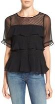 Ella Moss Women's 'Nikkita' Ruffle Silk Lace Top
