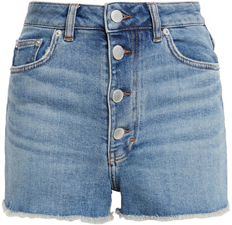 Maje Frayed Button-detailed Stretch-denim Shorts