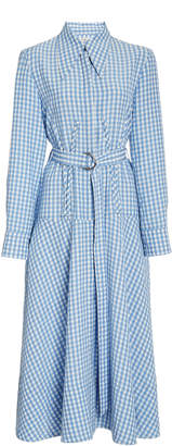 Tibi Belted Gingham Corset Dress