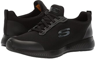 Skechers Squad SR (Black Flat Knit) Women's Shoes