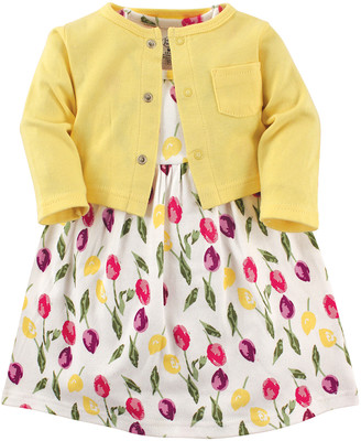 Luvable Friends Girls' Casual Dresses Tulips - White & Yellow Tulip Dress & Cardigan Set - Newborn, Infant & Toddler