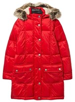 Barbour Red Icefield Quilt Coat with Lined Hood