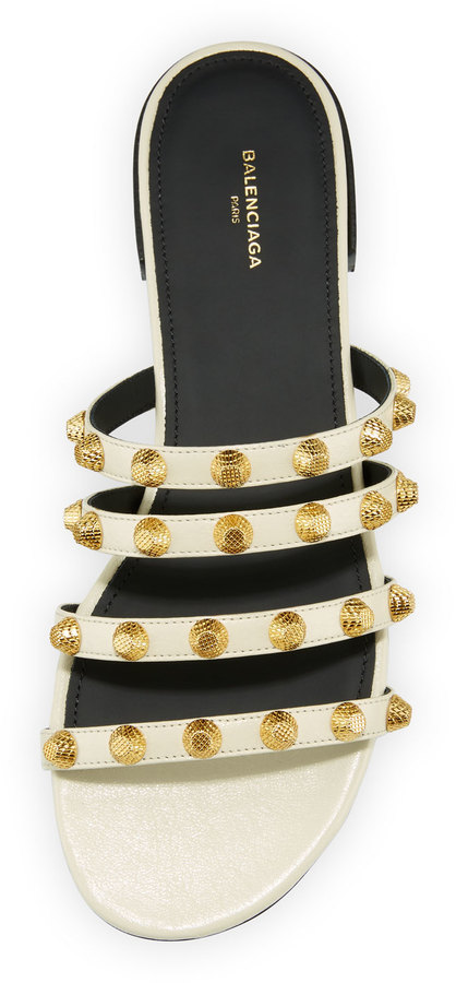 Balenciaga Studded Leather Slide Flat Sandal