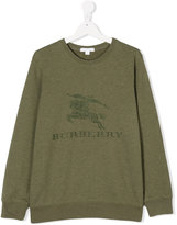 Burberry logo embroidered sweatshirt - kids - Cotton - 14 yrs