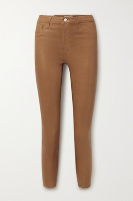 L'Agence Margot Coated High-rise Skinny Jeans - Camel