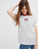 Asos T-Shirt With Googley Eye Badge In Boxy Fit