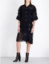 Sacai Embroidered chiffon shirt dress