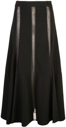 Derek Lam Lace-Insert Flared Skirt